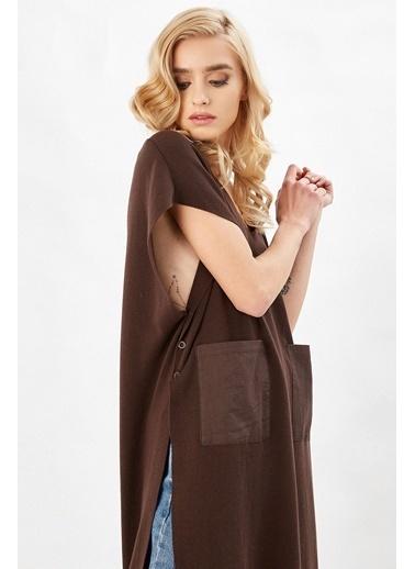 Peraluna Peraluna Kahverengi V Yaka Yandan Düğmeli Uzun Kadın Triko Tunik Kahve